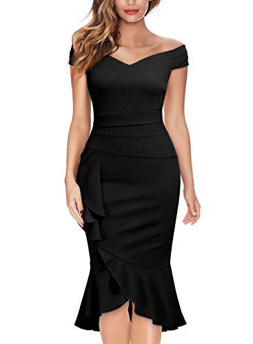 Knitee Women's Off Shoulder V-Neck Ruffle Pleat Waist Bodycon Evening Cocktail Slit Formal Dress Black