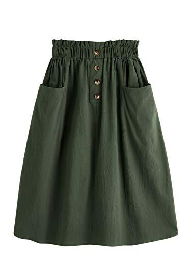 SweatyRocks Women's Casual Paper Bag Waist A Line Pleated Midi Skirt with Pockets Army Green L