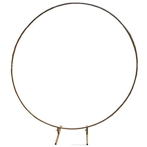 YAP Door Ring Arch Iron Wedding Arches Props Background Circle Flower Outdoor Lawn Metal Round Backdrop Balloon Flower Door Road Leading Birthday Party Decor,Gold,2.5m