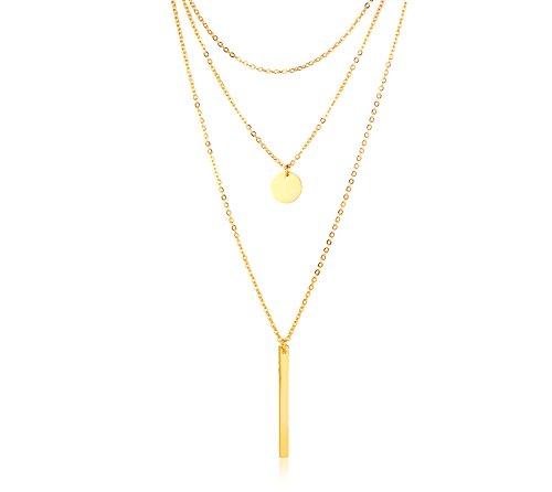 VNOX Chapado en Oro de Acero Inoxidable Moneda Redonda y Barra Vertical Colgante Gargantilla Triple de Múltiples Capas Collar en Y para Mujer Niña