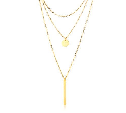 VNOX Gold Plating Stainless Steel Round Coin and Vertical Bar Pendant Choker Triple Multi-Layered Y Necklace for Women Girl