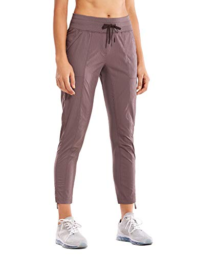 CRZ YOGA Women's Studio Joggers Striped Travel Lounge Pants Drawstring Leg 7/8 Workout Casual Track Pants with Pockets Mauve Large