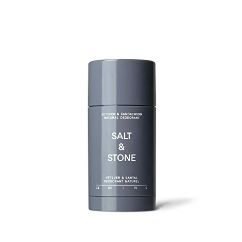 Salt & Stone Deodorant (Vetiver & Sandalwood, Nº 2) Unisex Natural, Fresh and Effective Deodorant with 48 Hour Protection For Sensitive Skin - Aluminum, Baking Soda, & Cruelty Free