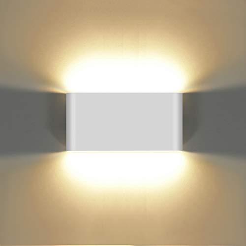 KAWELL 12W Moderno Applique da Parete LED Lampada da Parete Alluminio Lampada da Muro Impermeabile IP65 Interno Esterno per Camera da Letto Bagno Soggiorno Scale Portico Corridoio, Bianco 3000K