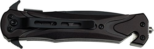 TAC Force TF-719BK Assisted Opening Folding Tactical Knife 4.5-Inch Closed, Black Blade, Black Handle