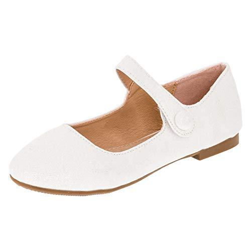 Festliche Mädchen Glitzer Ballerinas mit Leder Innensohle M373ws Weiß 34
