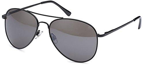 Hatstar Pilotenbrille Verspiegelt Fliegerbrille Sonnenbrille Brille mit Federscharnier (71 | Rahmen Schwarz - Glas Schwarz)