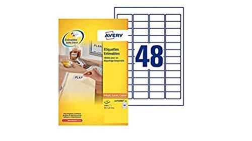 Avery L4736REV-25 Etichette Rimovibili, 48 Pezzi per Foglio, 25 Fogli, 45.7 x 21.2, Bianco,