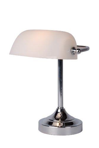 Lucide 17504/01/11 - Lámpara de escritorio tipo banquero con pantalla de cristal (E14), color cromado y blanco