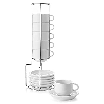 Sweese 404.001 Porcelain Stackable Espresso Cups with Saucers and Metal Stand - 2.5 Ounce for Specialty Coffee Drinks, Latte, Cafe Mocha and Tea - Set of 6, White