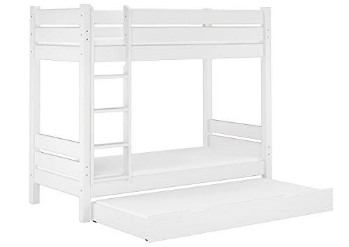 Erst-Holz® Etagenbett Erwachsene weiß 100x200 Nische 100 Matratzen Rollroste Gästebettkasten 60.16-10WMS7M