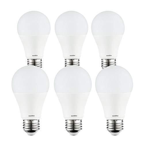 Sunlite 41138-SU LED A19 Light Bulbs, 5.5 Watts (40 Watt Equivalent), 450 Lumens, Dimmable, Medium Base, UL Listed, 27K - Warm White 6 Pack