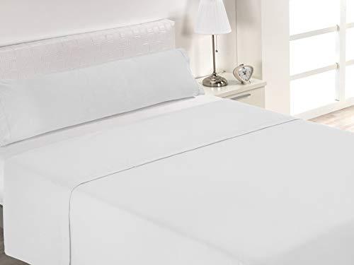 SABANALIA Juego de sábanas Blancas de Hostelería (Disponible en Varias Medidas), Cama 90