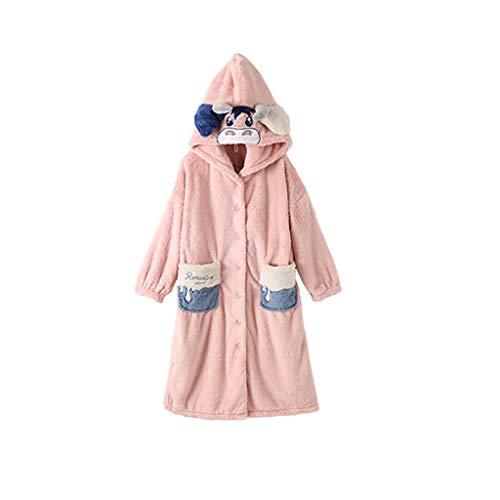 SKK Bata Baño Albornoz Mujer Barrote de Vellón de Coral con Bolsillos y Capó Lazo de Ropa para Baño en Casa Loungewear (Color : Pink, tamaño : Large)