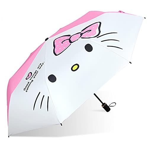 YSJJAXR Paraguas Dibujos Animados niña Paraguas Parasol Estudiante niño Plegable Paraguas plástico plástico Protector Solar Paraguas Pareja Pareja Sol Paraguas (Color : A)