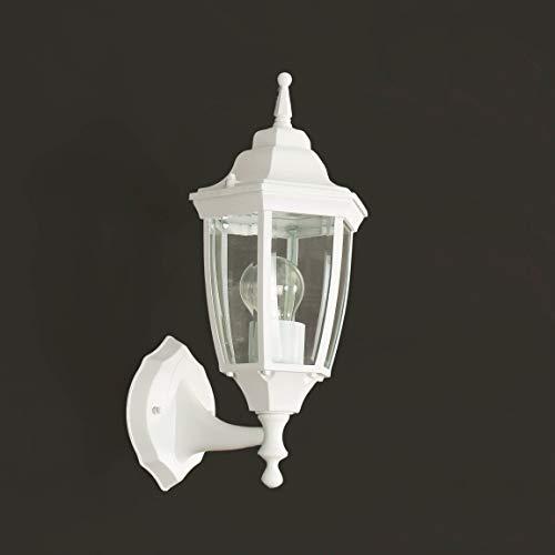 *Rustikale Wandleuchte in weiß-grau matt inkl. 1x 12W E27 LED Wandlampe aus Aluminium Glas für Garten Terrasse Garten Terrasse Lampen Leuchte Beleuchtung*