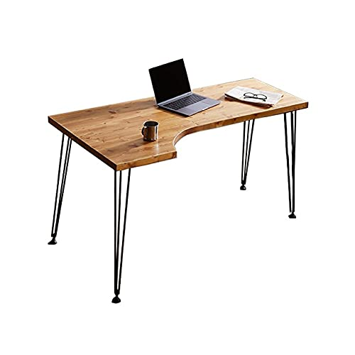 Escritorio Minimalista Minimalista Escritorio de madera L en forma de L ORDENADOR PERSONAL Tabla de estudio de trabajo de la mesa de la esquina del escritorio del ordenador portátil, soporte de metal