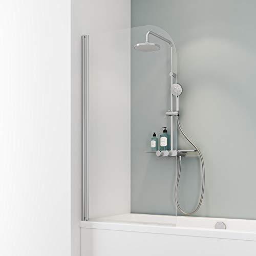 Ihr Wunschmaß millimetergenau, Schulte D165099 41 50 Duschwand Komfort, 5 mm Sicherheitsglas klar hell, chromoptik, Duschabtrennung für Badewanne, Sondermaß