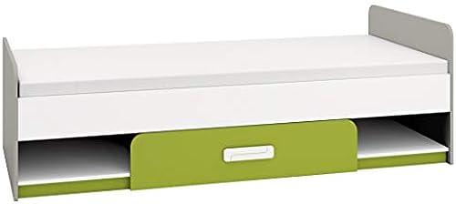 Kinderbett Jugendbett Renton 12, Farbe  Platingrau WeißGrün - Liegefl e  90 x 200cm   (B x L), mit 1 Schublade und 2 F ern