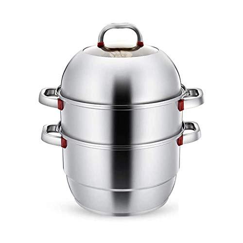 SSMDYLYM Acero Inoxidable Sopa de Olla al Vapor Engrosamiento Doble Fondo Antiadherente Sopa de Vapor Que Cocina la Cocina de inducción Horno de Gas