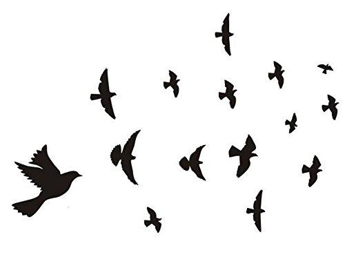 Dosige Wandaufkleber Wandtattoo Wandsticker, Neuer Wand Aufkleber Vögel Feder Schlafzimmer Abziehbild Wandkunst Dekor (schwarz)