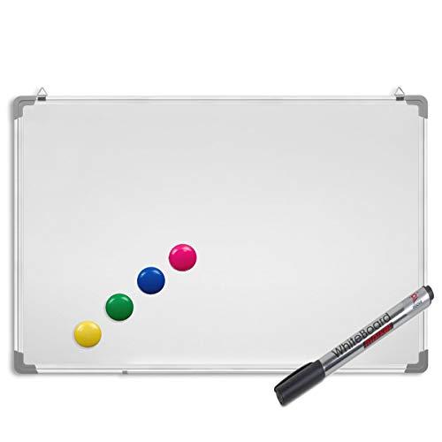 Whiteboard inkl. Marker und Magnete - Magnettafel mit Alurahmen und Stiftablage, magnetisch 40 x 30 cm