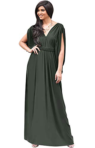 KOH KOH Damen Maxi-Kleid, langes V-Ausschnitt, sexy, griechisch, fließend, ärmellos - Grün - Groß