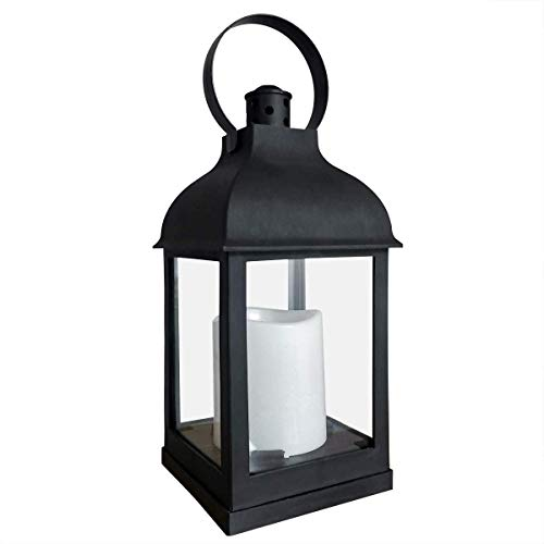 Nattork Vintage Decorative Lanterns with Timer - 10' Outdoor Candle Lantern with LED Flickering Flameless Candles - Hanging Lanterns for Wedding Party Decoration - Plastic with Bronze Undertones