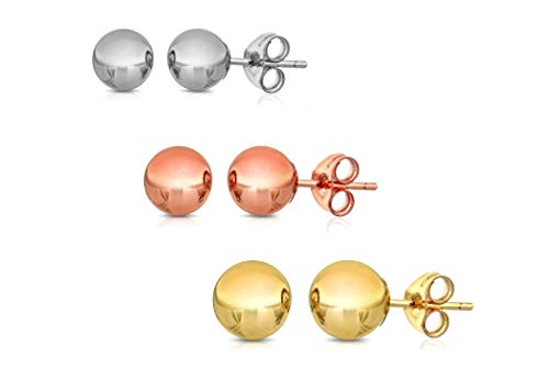 Peermont 925 14K Solid Gold Ball Stud Earrings 3 Colors White Rose and Yellow (3-Pair-Pack) 3MM 4MM and 5MM