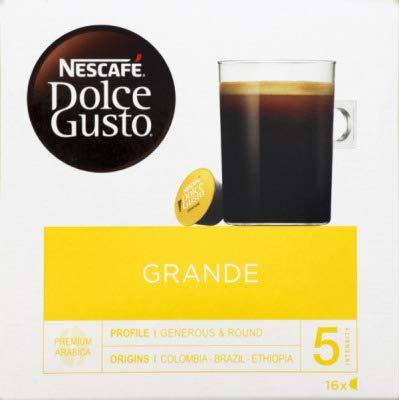 NESCAFÉ Dolce Gusto Grande Kaffee | 48 Kaffeekapseln | 100{040fb8ab66f3ec991d73475c82966173c013c8f46bd8d8567678ba513ffab3c2} Arabica Bohnen | Feine Crema und kräftiges Aroma | Schnelle Zubereitung | Aromaversiegelte Kapseln | 3er Pack (3 x 16 Kapseln)