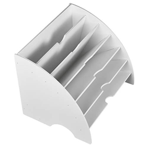 joyMerit Organizador de Escritorio de Plástico - Soporte para Archivadores, Documentos Y Revistas Blanco de Seis Compartimentos