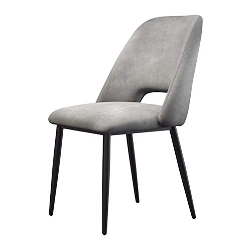 ZCXBHD Dining Side Chair Flannel Fabric Kitchen Dining Room Chairs With Wrought Iron Stool Legs Mid Century Modern Accent For Patio Living Room Lounge (Color : Gray)