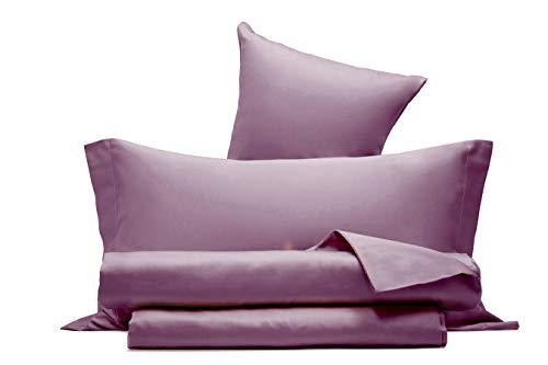 Juego de sábanas de raso de puro algodón, fabricado en Italia, para cama de matrimonio, color rosa Nostalgia