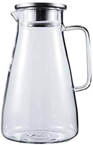 Jarra de Vidrio de Jarra de Agua Jarra con Tapa con Hielo Helado y Mango Borosilicato Resistente al Calor Jarra de Vino con Leche de Vino Leche y Zumo de Bebidas Jarrafa con Taza de té Liuyu.