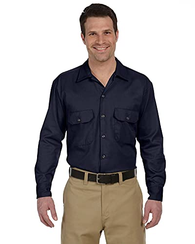 Dickies Work - Chemise casual - Taille normale - Manches longues - Homme - Bleu (Dark Navy) - Small (Taille fabricant: Small)