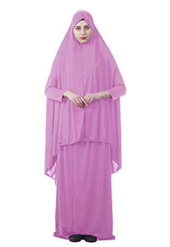 GladThink Musulmán Mujer Adoración Abaya Parte Superior Traje de murciélago y Falda Vestido de 2 Piezas Pink L