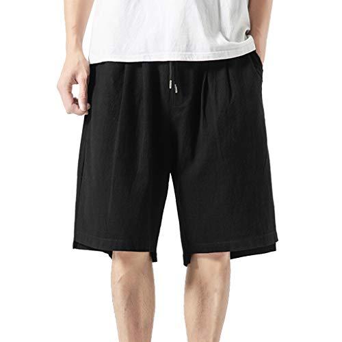 YAYUMI Men Swim Trunks Summer Casual Harem Pants Jogger Pants Fitness Trousers Linen Loose Shorts Pants Black
