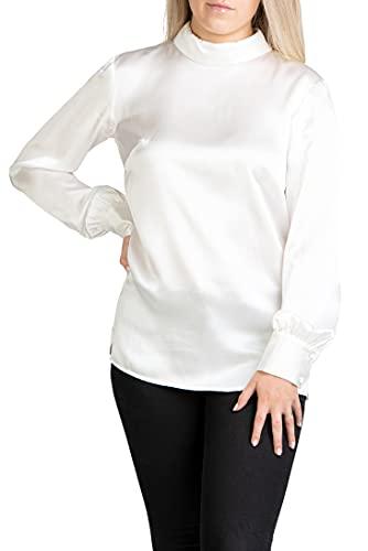 Posh Gear Damska Jedwabna bluzka Satinoseta 100% jedwab, biały, S