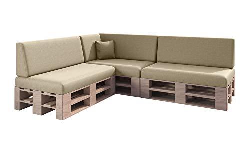 sunnypillow Set de 8 Coussins pour Canapé Palette Intérieur/Extérieur plusieures Tailles et Couleurs à Choisir Lisse Lounge (Assise + Dossier) Ecru