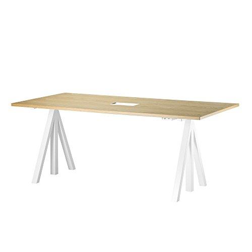 String Works Desk Schreibtisch 160x78cm, Eiche Gestell weiß inklusive Schublade BxHxT 160x118.5x78cm elektrisch höhenverstellbar 71.5-118.5cm