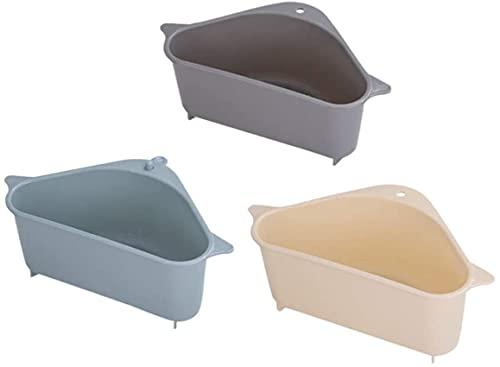 Llq2019 3 uds Fregadero Esquina Caddy triángulo Mini Ventosa Estante de Almacenamiento Cesta de Almacenamiento Organizador Estante para Cocina Sala de Estar baño
