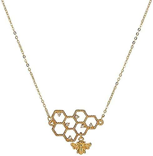 TTDAltd Collar con Colgante de Collar de Oro de Abeja para Mujer, Collar de Perlas de Cristal de Panal de Miel de Color Dorado, Regalos, Regalo