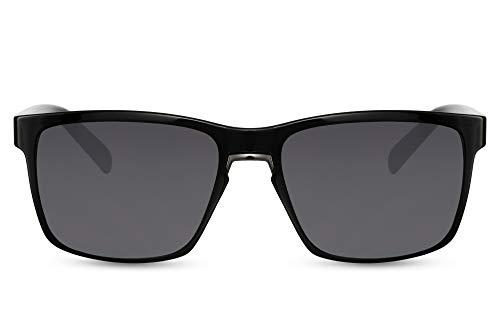 Cheapass Sunglasses Gafas de sol Rectangular Key Metal Nose Bridge Negro con lentes oscuros 100% UV400 protegido Hombre