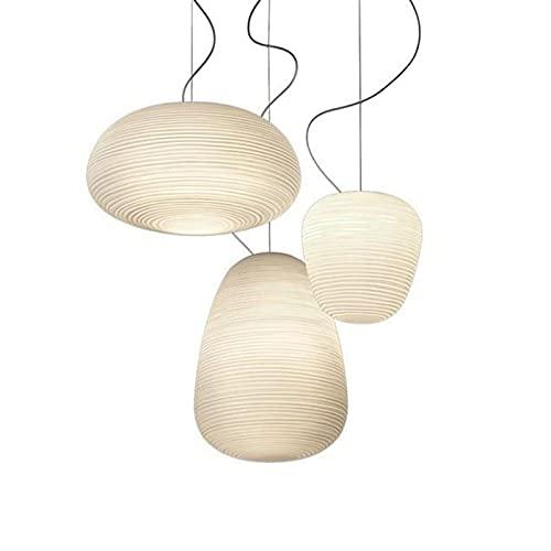 DULG Candelabro minimalista moderno Lámparas de tres cabezas Sala de estar Luces del dormitorio Restaurante Bar Luces colgantes decorativas Poste Moderno nórdico Blanco Lámparas de vidrio roscado blan