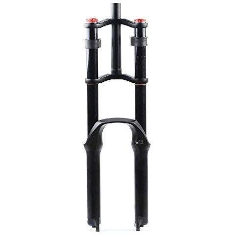 VTDOUQ Horquilla de suspensión para Bicicleta neumática 26/27.5/29'MTB Doble Hombro Descenso Descenso rapel Amortiguador Recorrido del Resorte 130 mm Freno de Disco de amortiguación QR DH/Am/FR