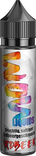 Wow Liquids Vape Liquid 70 VG/30 PG para cigarrillos electrónicos o shishas, sin nicotina, fabricado en Alemania, sin sucralosa (fresa)