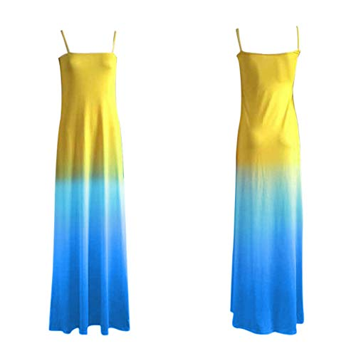 Hmlai Clearance Women's Summer Sexy Casual Plus Size Spaghetti Strap Gradient Color Maxi Dress for Special Occasions (5XL, Blue)