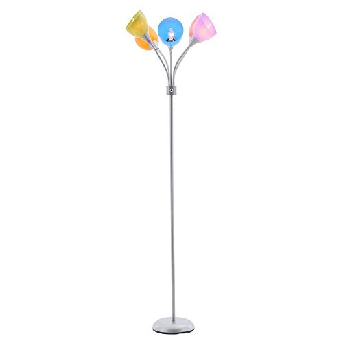 Hampton Bay 299440 67 in. 5-Arm Silver/Painted Floor Lamp