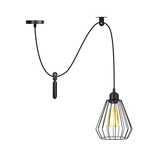 Lámparas colgantes de araña, luz de techo ajustable para bricolaje, lámpara de araña de jaula rústica industrial, lámpara colgante para comedor, cocina (cable de 2 m),1 light