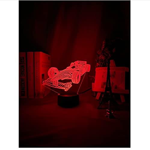 F1 Fórmula 1 Coche De Carreras Ilusión 3D Luz De Noche Led Para Habitación De Niños Luz De Noche Decorativa Regalo Único Para Luz De Escritorio Para Habitación De Niños